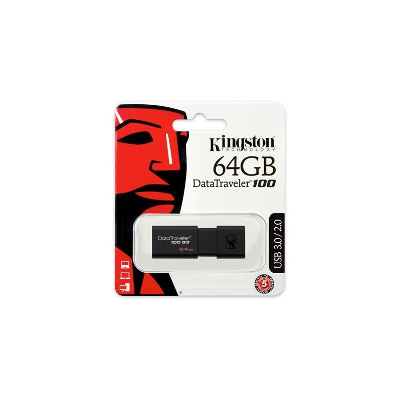 Kingston 64GB Data Traveler 100 Generation 3  USB 3.0 pendrive fekete