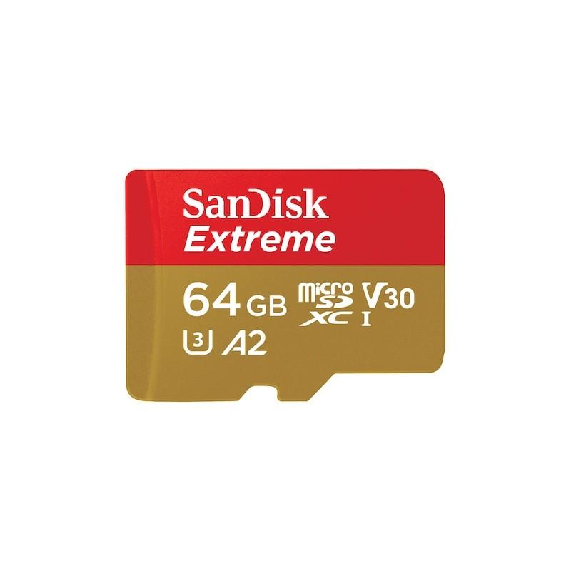 SanDisk 64GB Extreme A2 C10 V30 UHS-I U3 microSDXC memóriakártya + adapter (183505)