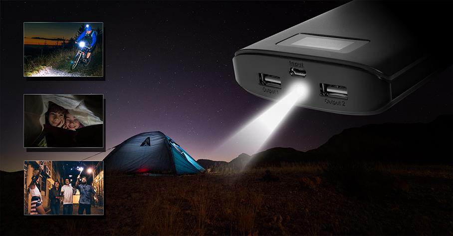 ADATA P20000D külső akkumulátor LED lámpával