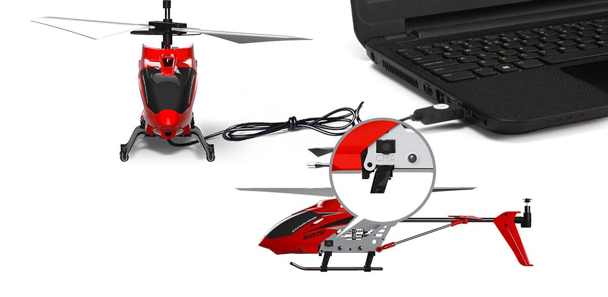 Syma S107H távirányítós helikopter töltése