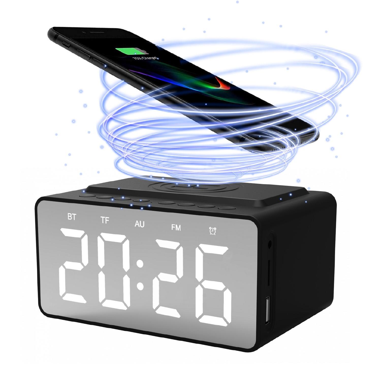 Quazar Speaker Clock Bluetooth hangszóró, Óra, FM rádió és vezeték nélküli Qi töltőállomás