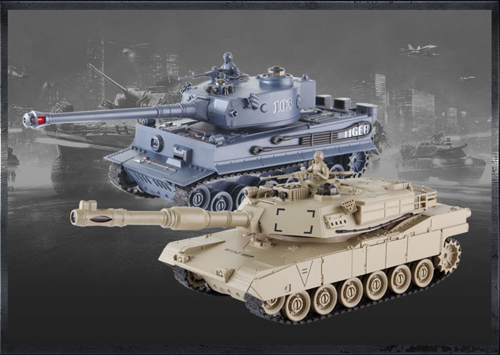 RC tank szett M1A2 és Német Tigris harckocsikkal